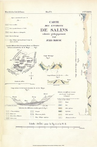 Recherches géologiques sur le Jura salinois, J.Marcou, 1846. Planche.