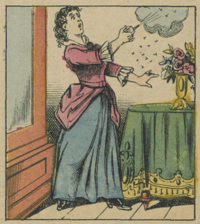 L' insecticide Vicat - Fabrique et magasin de vente, 9 rue Jules César, Paris : [estampe] éditée par Glücq, 1882. Gravure sur bois en couleurs, 40x30 cm. Détail. Source Gallica/BnF.