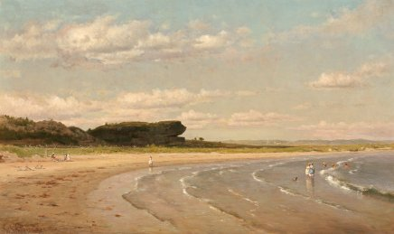 Worthington Whittredge, Second Beach, Newport, vers 1878-1880. Huile sur toile, 76,8 x 127,6 cm. Source : National Gallery of Art (Washington).