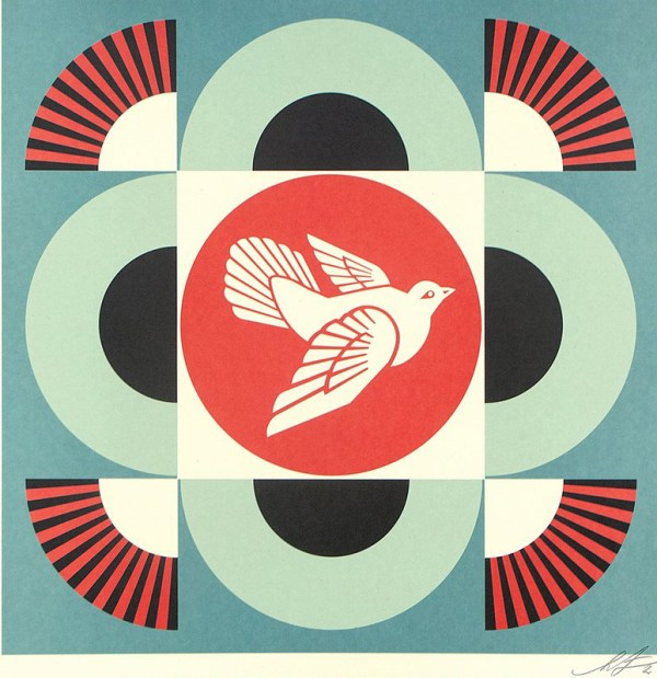 Geometric Dove (on blue)