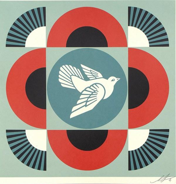 Geometric Dove (on red)