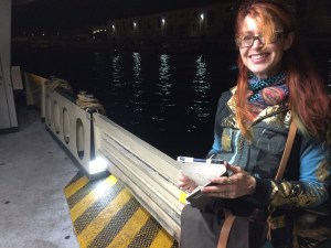 Roz on the night vaporetto to Giudecca.