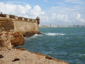 The view from Castillo de San Sebastian, looking back at the city of Cádiz. The fortress is at the end of a long, narrow casuseway.