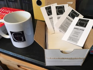 Gladius Publications business cards and mug