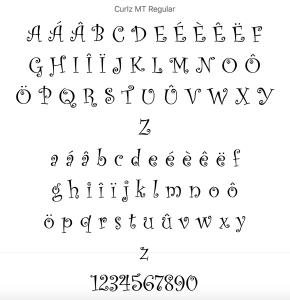 Curlz fonts