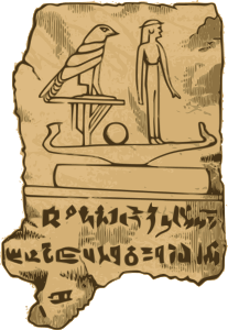 Ancient Egyptians exchange scripts on accession of new king. (Credit: Openclipart.org). Note: This is neither real hieroglyphs, nor is it a political script.