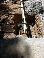 Deck support partial rebar set and starting of supports for walkway