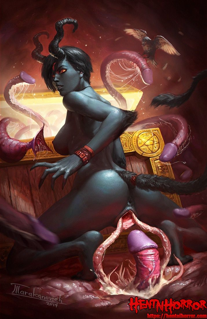 NSFW uncensored art of tentacle hentai monster tentacle rape of oppai demon babe.