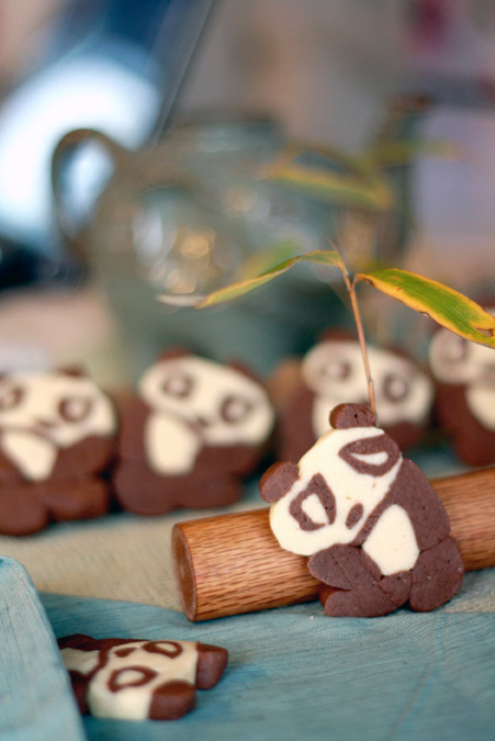 Chocolate and vanilla panda cookies