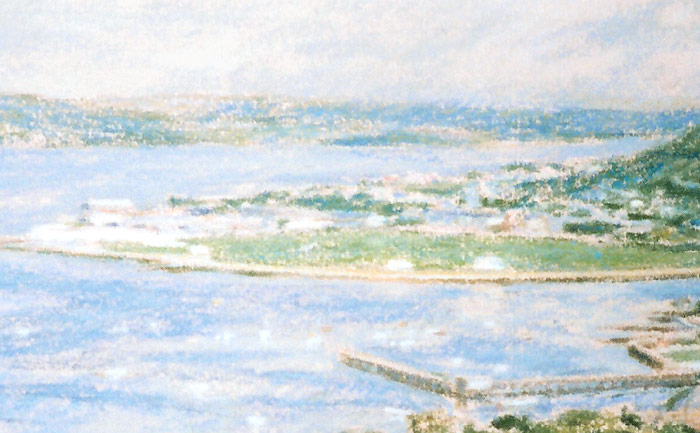 Detail of Michael Hepburn's painting of Cardwell Bay in Gourock.