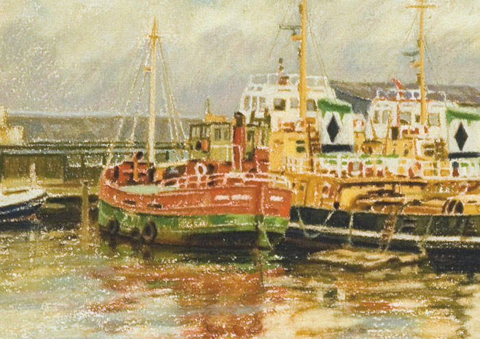 Detail of Clyde puffer and Cory Tugs berthed at East India Harbour, Greenock.
