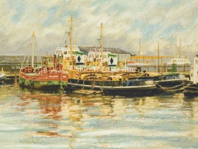 Clyde puffer and Cory tugs (East India Harbour, Greenock