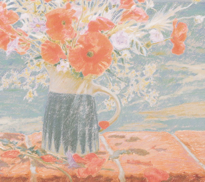 Detail of Michael Hepburn's painting of a jug of Italian Wildflowers.