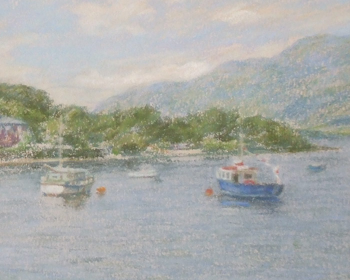 Detail of Michael Hepburn's painting of Lodge on the Loch.