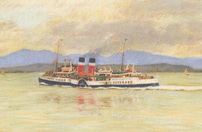 Detail of Paddle Steamer Waverley sailing the River Clyde.