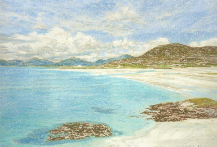 The beautiful white sands and clear blue water of Luskentyre Beach, Isle of Harris.