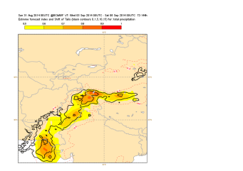 Figure 3: EFI and SOT for 3-day accumulation of precipitation for the forecast issued on the 31st of August 00 UTC
