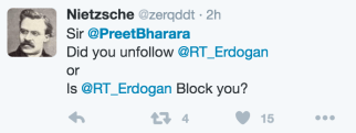 Sizi Erdoğan mı blokladı?