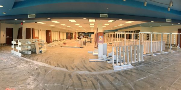 After the Noblesville Youth Services area flooded, the carpet was removed for construction.