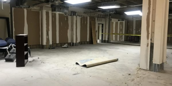 An old program room with the walls and floor taken out.