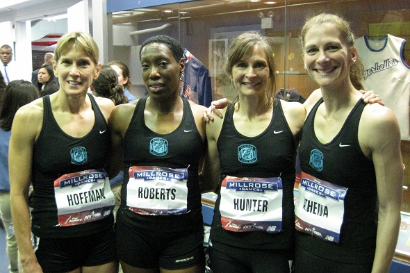 Gaby Grebski (Y '93 - right) with her Athena Track Club 4x400 teammates Debra Hoffman, Charmaine Roberts, and Joan Hunter at 2013 Millrose  Games