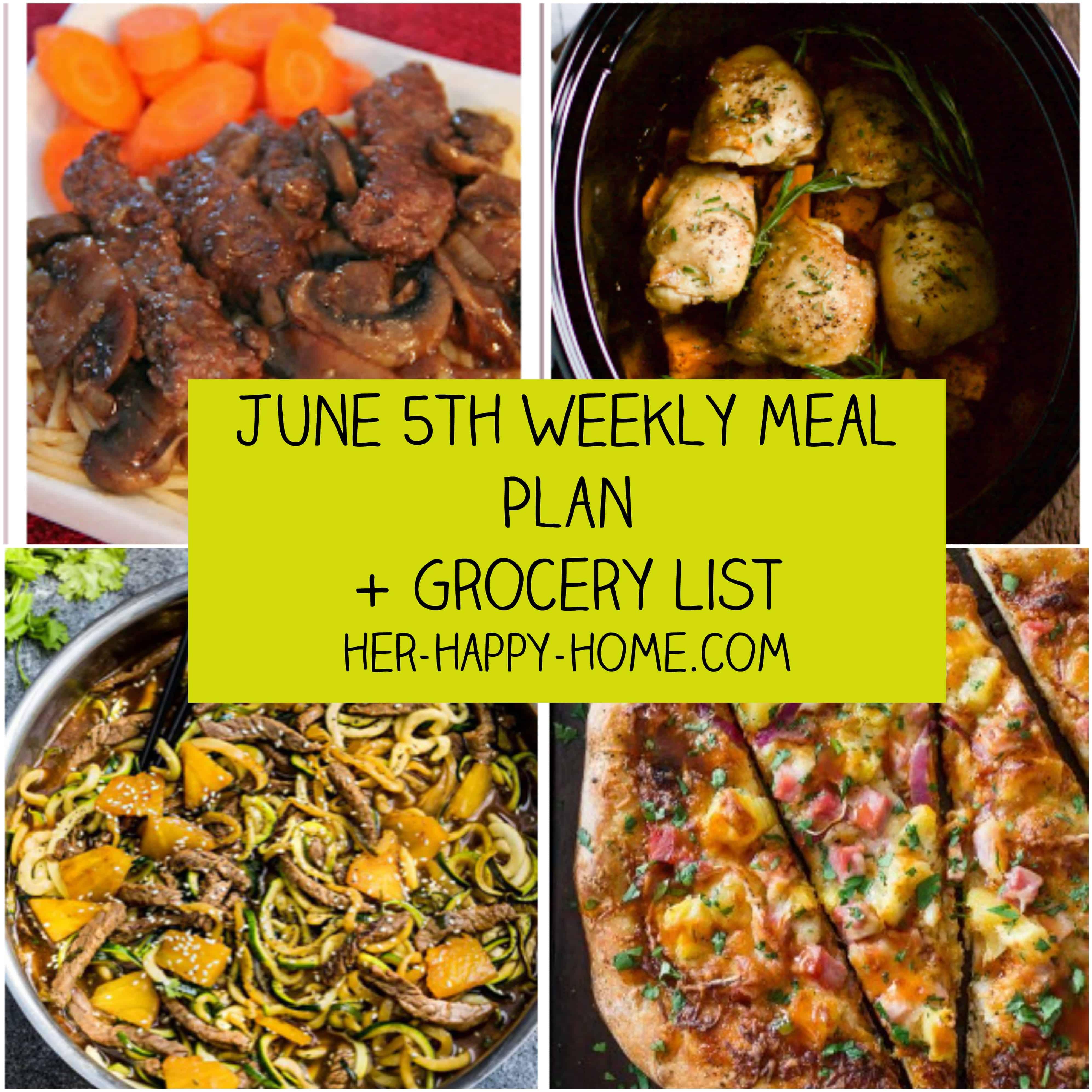 June 5th Weekly Meal Plan + Grocery List