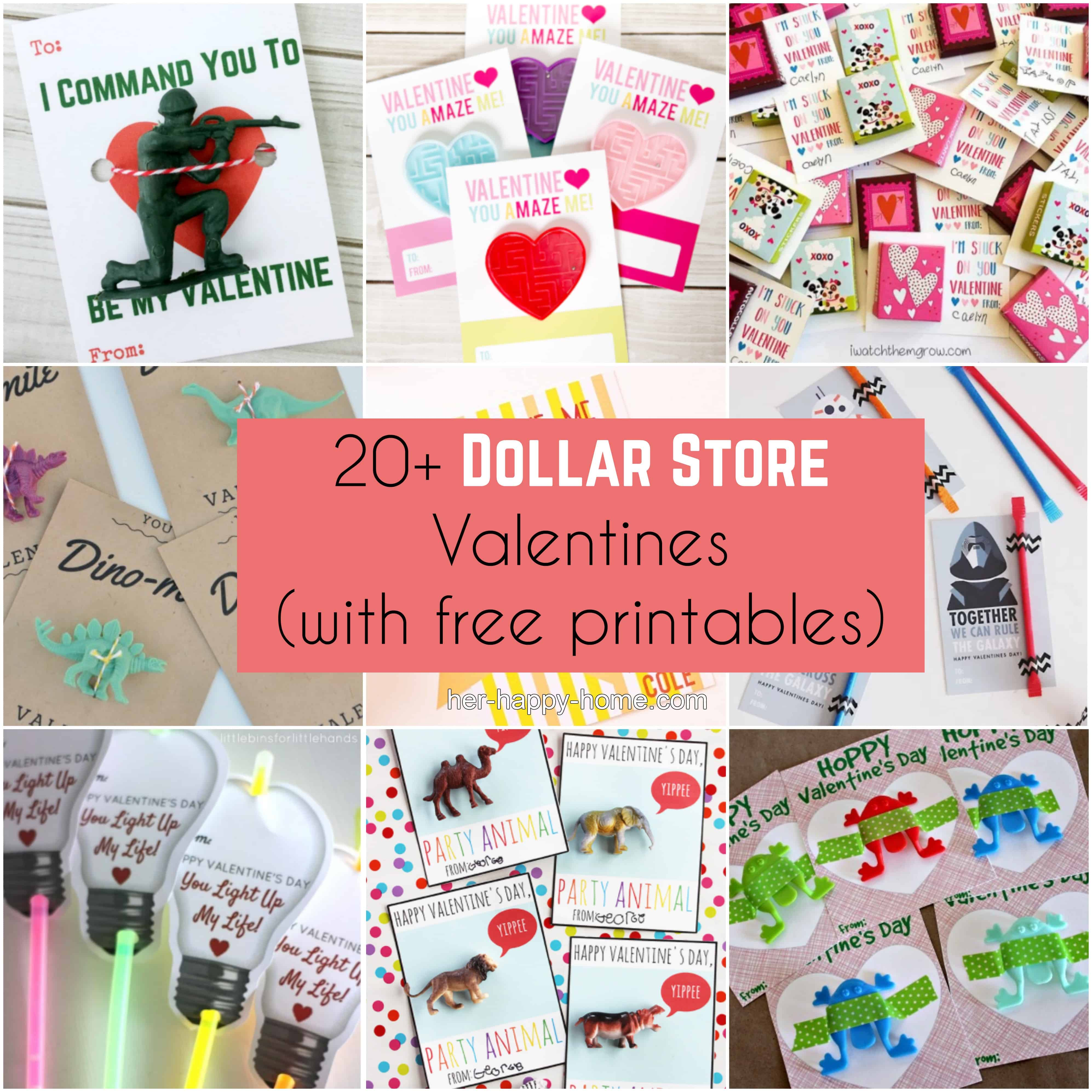 20+ Dollar Store Valentines (with free printables)