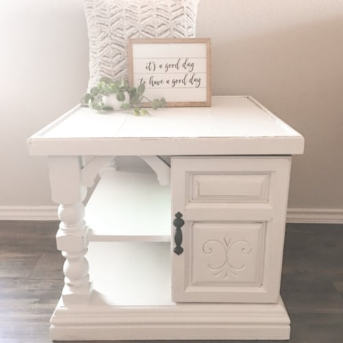DIY Chalk Painted End Table