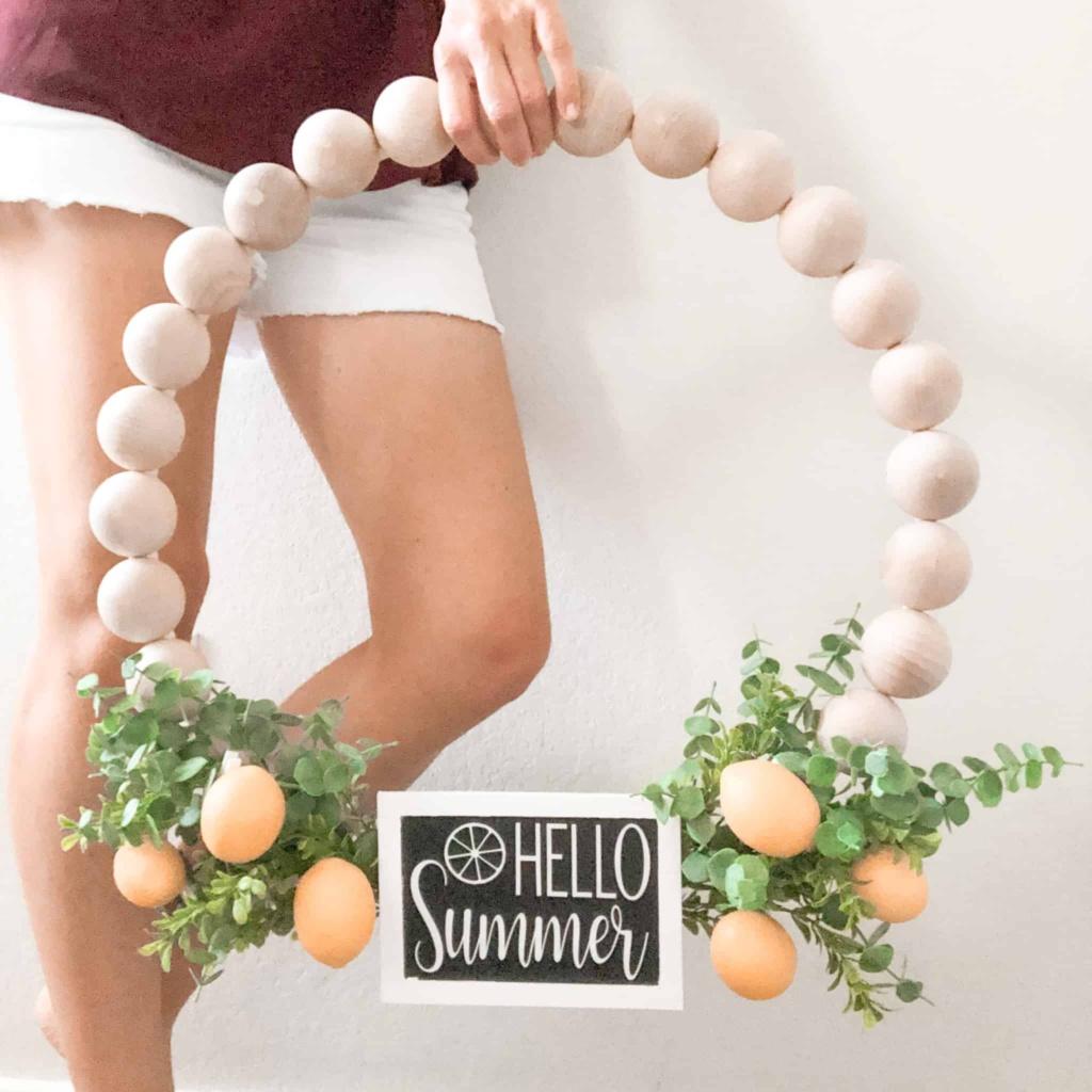 diy wooden bead wreath