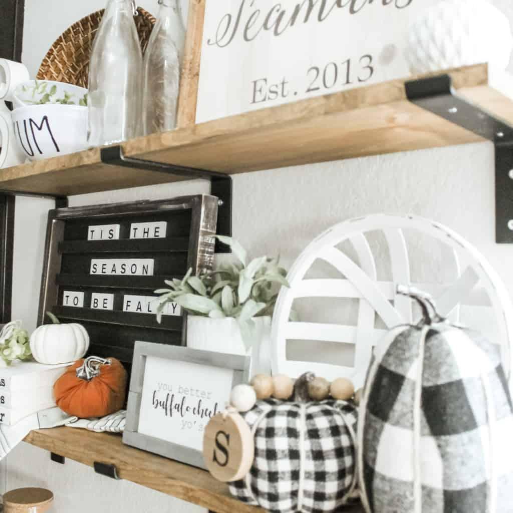 Fall Home Tour farmhouse shelves