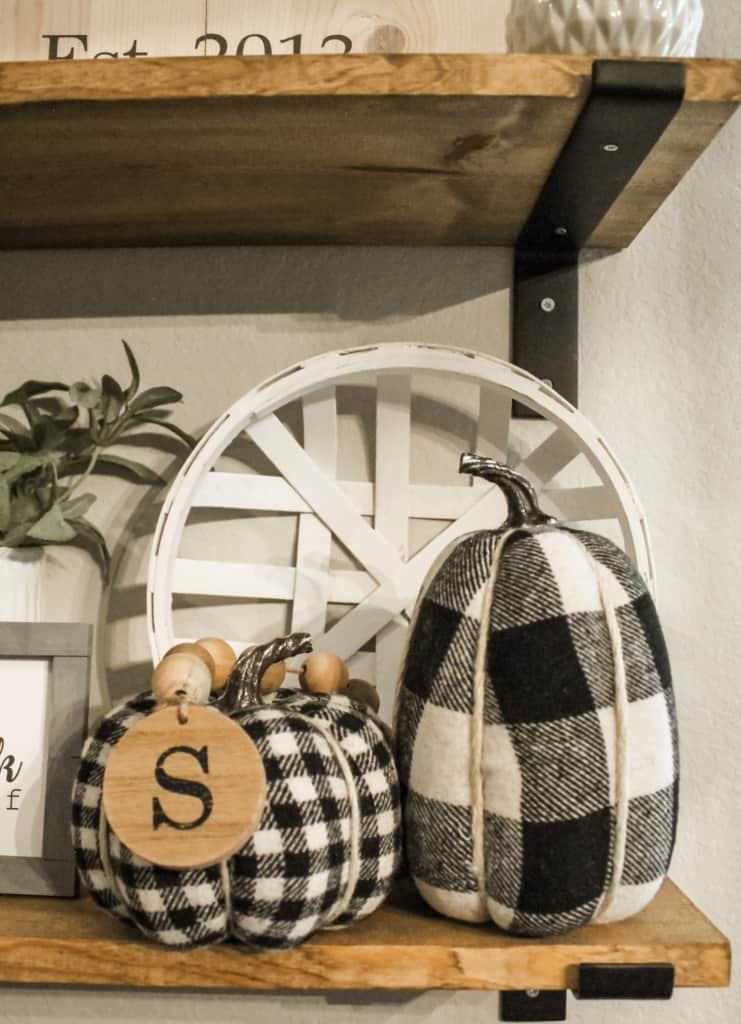 fall shelf styling