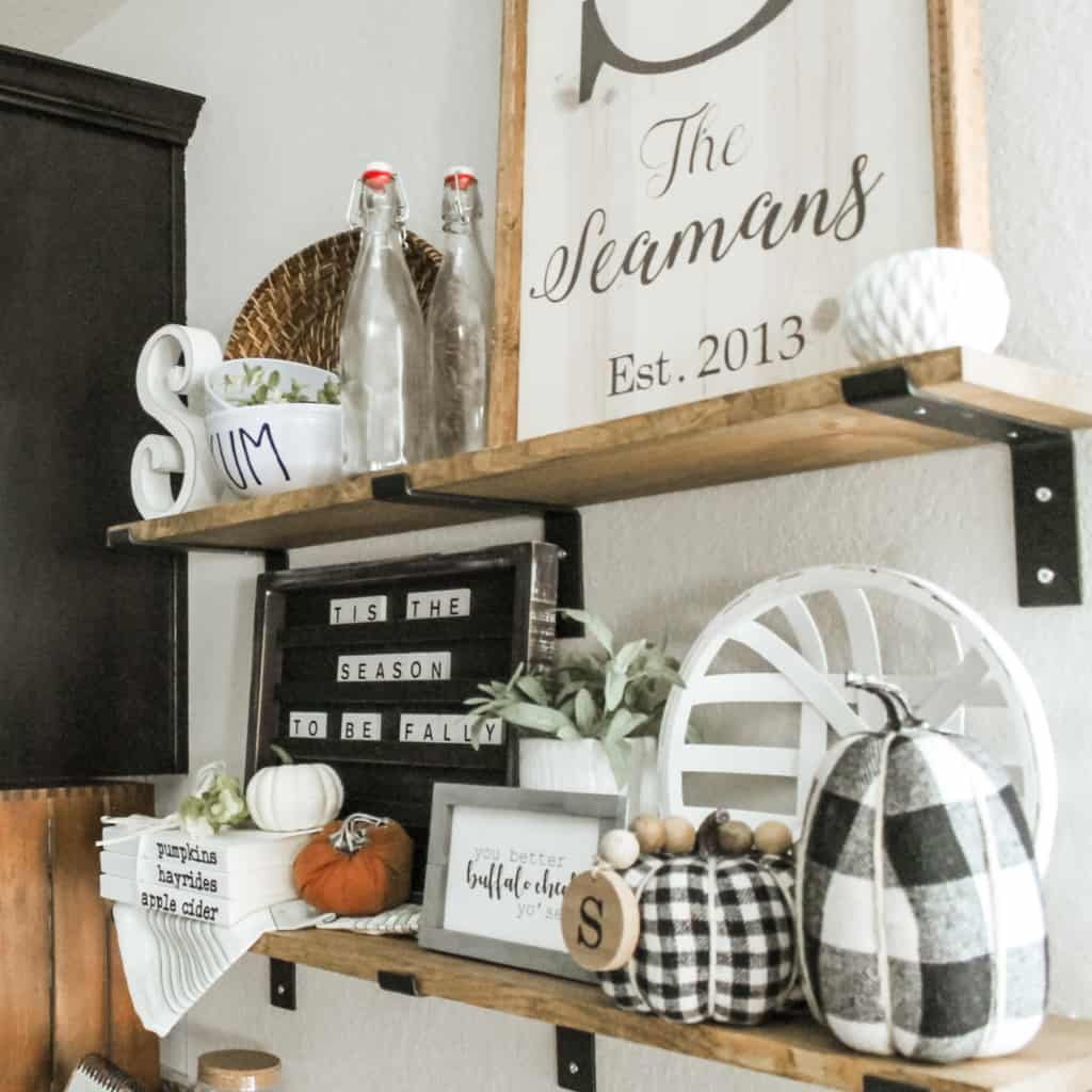 how to style shelves for fall