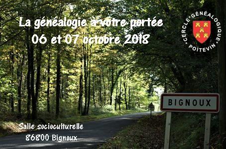 forum généalogie, CGP cercle Généalogique Poitevin, octobre 2018, Bignoux