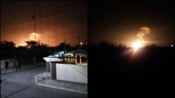 Imágenes de la fuerte explosión ocurrida en el gasoducto. Fotos: Twitter