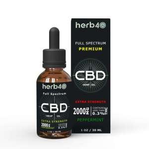 herb40 best uk full spectrum organic cbd hemp oil 30ml for chronic pain anxiety stress wellbeing 2000mg(geo)