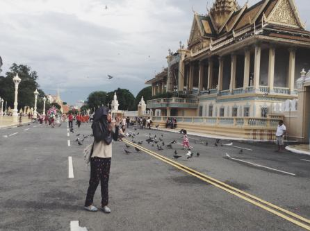In front of the palace