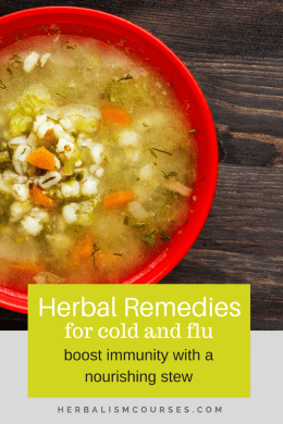 This immune boosting stew can be made as a meal for the whole family. It's a simple, one-pot meal made with food ingredients that fight cold and flu. #herbalism #herbal #remedies #medicine #cold #flu