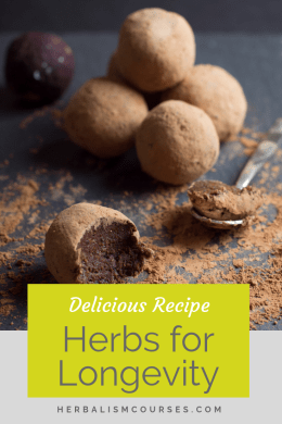 This delicious recipe includes herbs for longevity. They are called adaptogens which are an important part of herbalism. #Adaptogens #LongevityHerbs #AdaptogenRecipes #Ashwagandha #Ginseng #Herbalism #HerbalMedicine #HerbalismCourses #OnlineHerbalCourse