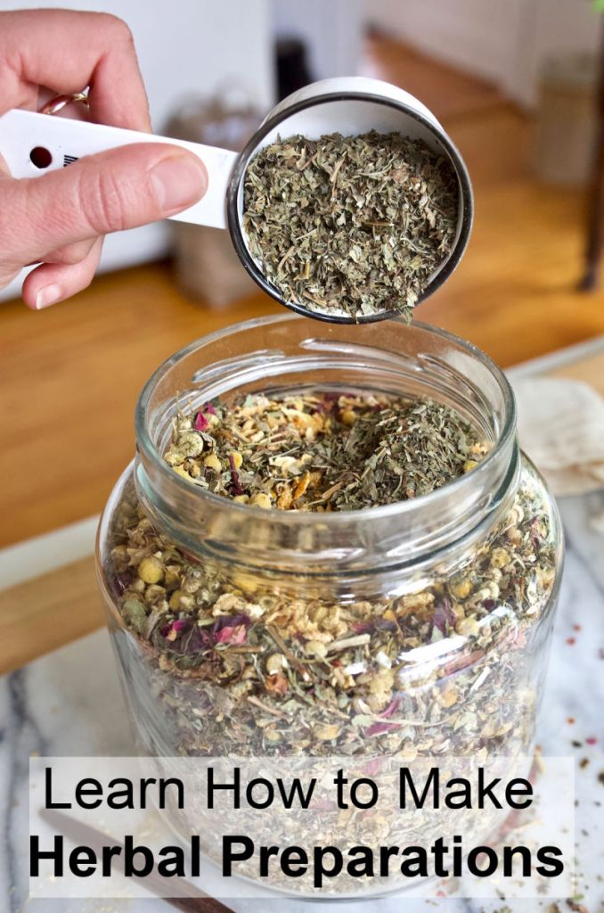 Learn how to make your own herbal products like herbal teas, oils, tinctures and salves with this free online Herbal Preparations 101 mini course. #herbs