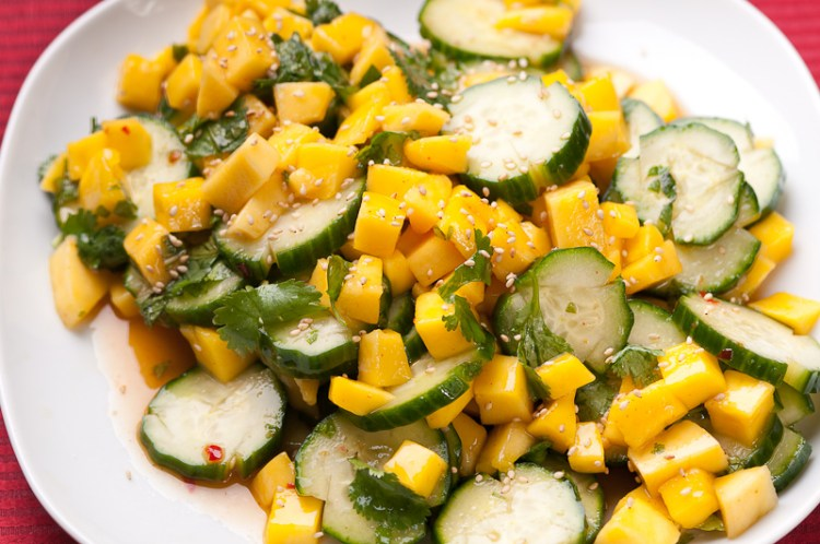 healthy snack ideas for work, Cucumber Mango Salad