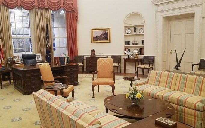 A replica of the White House Oval Office during Ford's presidency