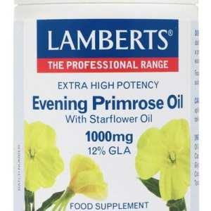 Aceite de Prímula con Borraja 1000 mg con Vitamina E – Lamberts – 90 Cápsulas