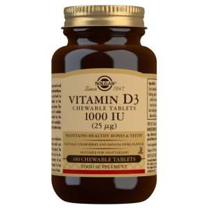 Vitamina D3 1.000 UI Masticable – Solgar – 100 comprimidos