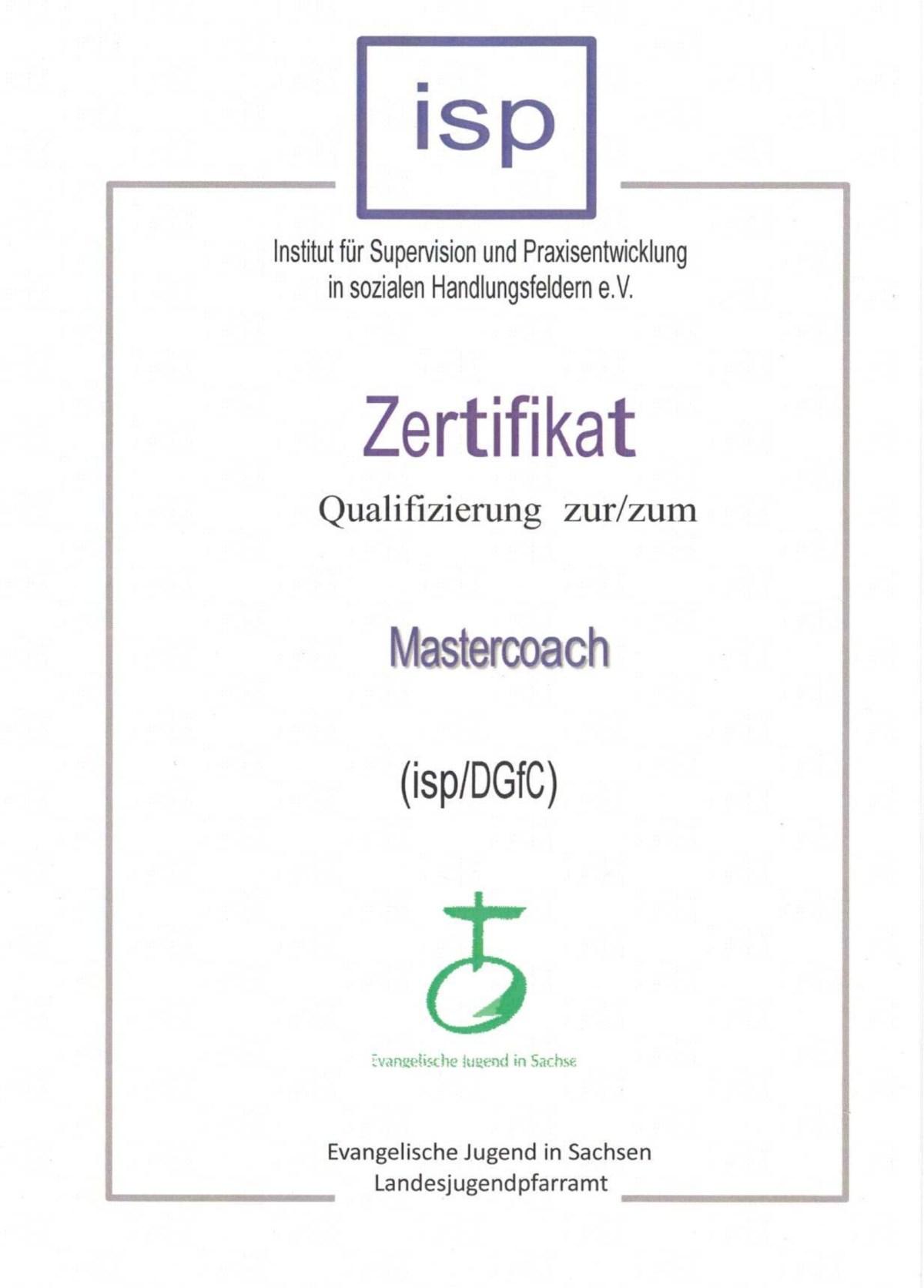 Zertifikat Mastercoach
