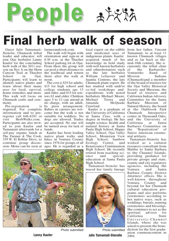 Herb Walk with special guest Julie Tumamait