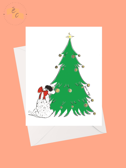 Zelda and her Christmas Tree Greeting Card