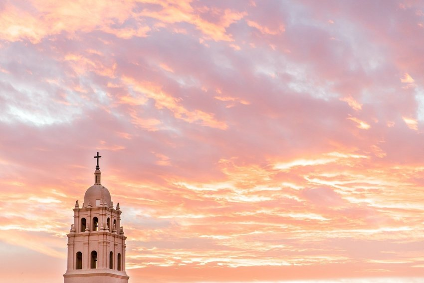 Why I Became Catholic - Brophy College Chapel at Arizona Sunset - Her Confetti