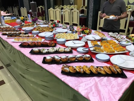 Spread of desserts at the hotel buffet