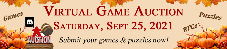 Virtual Game Auction September 25, 2021