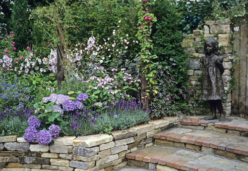 Lavender border along stone steps